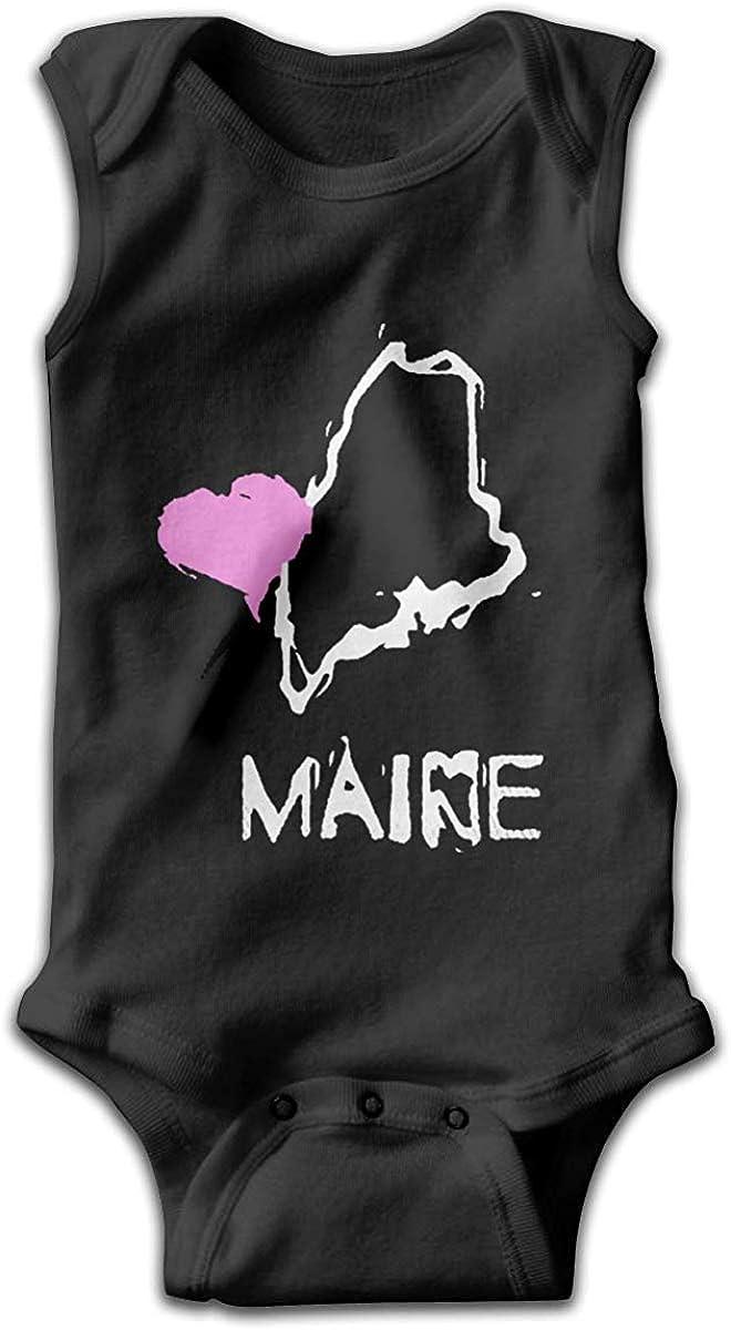 Love Maine State Newborn Baby Jumpsuit Bodysuit Romper Cute Tops Black