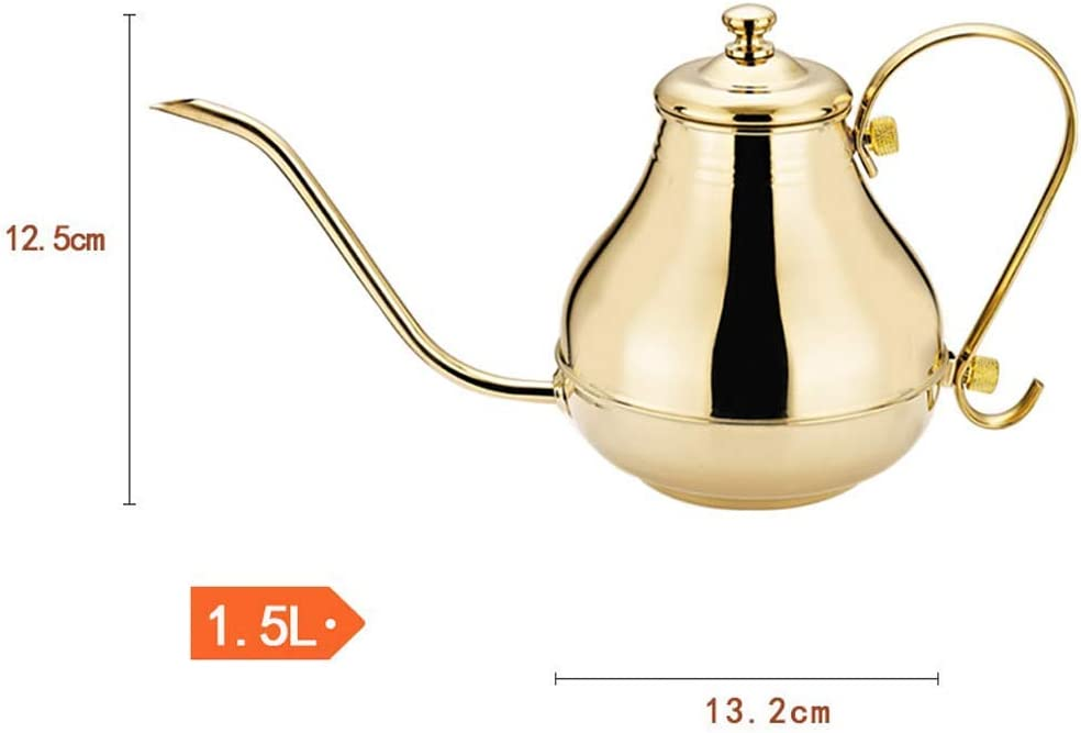 1.5L Elegante Stainless Steel Kettle Lungo Bocca Cooker Universale Thick Coffee Pot (Colore: Argento) (Color : Gold) Gold