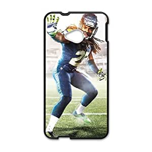 games Richard Sherman Seattle Seahawks Madden NFL Game Cover HTC One M7 Cell Phone Case Black Special Tribute p6xr_3488483