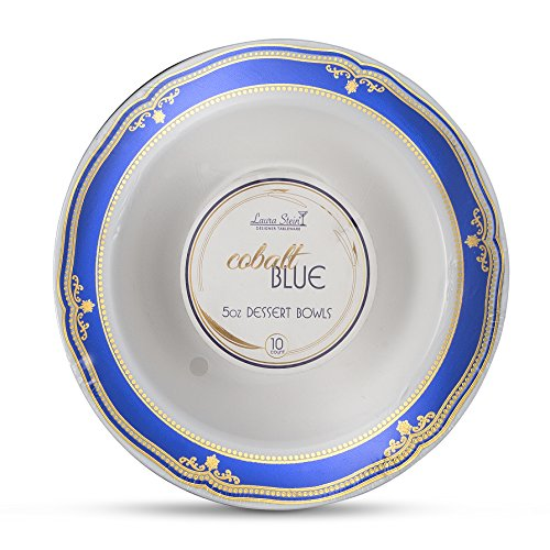 Laura Stein Designer Tableware Premium Heavyweight 5 Ounce White Bowl And Blue & Gold Border Plastic Party & Wedding Dessert Bowls Cobalt Blue Series Disposable Dishes Pack of 40 Dessert Bowls