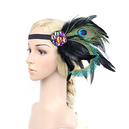 Peacock Teen Costumes (Ztl Women's 1920s Headwear Fascinator Crystal Peacock Feather Gatsby Headband Black)
