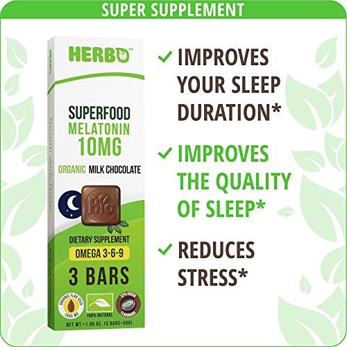 Amazon.com: Herbo Superfood Melatonin 10 mg in Organic Chocolate - Best Natural Sleep Aid Supplement for Insomnia - Premium Taste - with Organic Flax Seeds, ...
