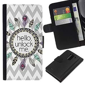 For LG G3 Case , Hello Indian Feather Chevron Pattern - la tarjeta de Crédito Slots PU Funda de cuero Monedero caso cubierta de piel