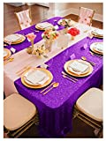 ShinyBeauty 90x156-Inch-Sequin Tablecloth-Rectangular-Purple,8FT Table Dropping to Floor Wedding Table Linen/Cloth