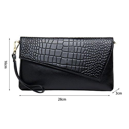 en cuir Messenger grande capacité Rouge d'embrayage Noir crocodile sac mode QI à DEI de luxe main motif sac femelle sacs en pochette cuir coréenne sacs de Pochette Couleur 0Ex7fYF
