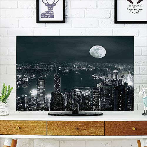 LCD TV Cover Lovely,Modern,Aerial View of Hong Kong City at Night with Full Moon Sky Architecture Mystic Print,Blue Grey,Diversified Design Compatible 65