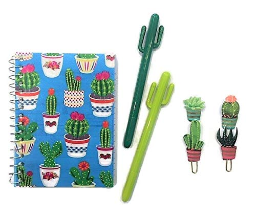 Spiral Paper Clip - Cactus Decor Spiral Notebook Paper Clips Pens Bundle for Back-to-School Office Supplies | Succulents Stationary Gifts for Women Girls Teens