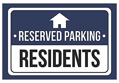 Reserved Parking Residents Print Blue, White and Black Notice Parking Graphic Large Sticker Sign for Business Wall Window Any Smooth Surface