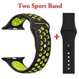 Yunsea Soft Sport Durable Silicone Double Color Black Volt Yellow Band with Black Solid Color Silicone Wirst Replacement Strap Band for Apple Watch Series 1 / 2 / 3,42mm,M/L