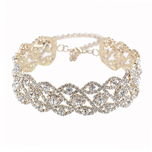 Ikevan Women Punk Style Alloy Crystal Rhinestone Golden Chain Necklace Choker (Gold) (Punk Crystal)