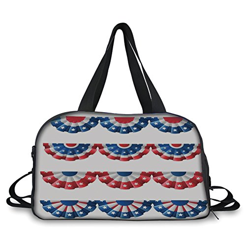 iPrint Travel Handbag,American Flag Decor,Flag Round Bunting Election Ornament Politic Union Ribbon Event Pattern,Blue Red Personalized