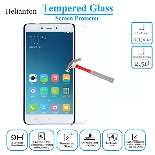 Price comparison product image Xiaomi Redmi Note 4 Tempered Glass Screen Protector Helianton 9H Hardness Easy Paste Anti-burst Anti-Scratch Anti-Explosion Rounded Edge Screen Protector