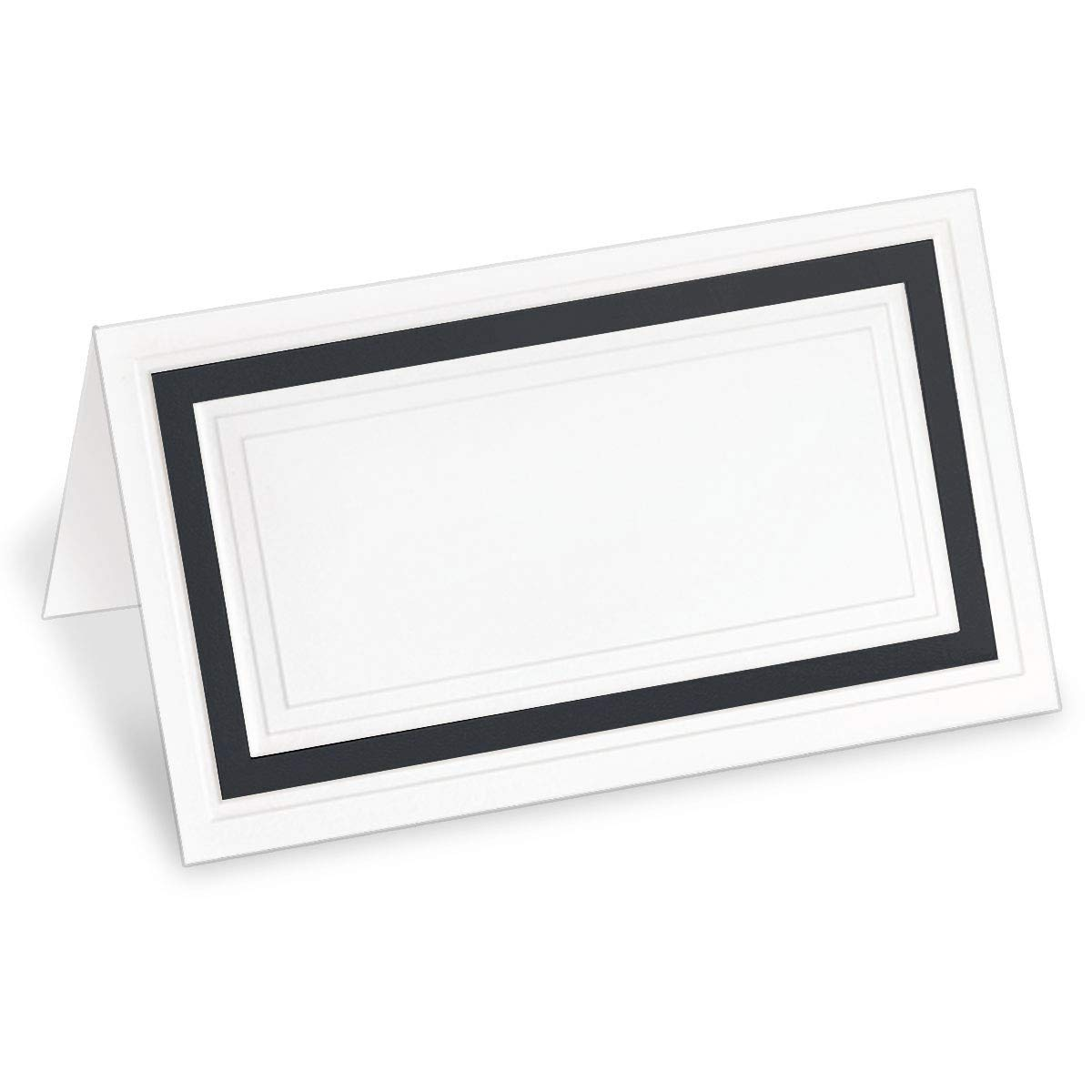 PaperDirect White 38lb Cover Stock Folded Place Cards with Black Foil Border, Micro-Perforated, 2'' x 3 1/2'', 100/Pack, Laser and Inkjet Compatible