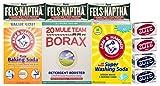 Laundry Soap Kit - Fels Naptha 3 bars, 20 Mule Team Borax Natural Laundry Booster, Baking Soda, Super Washing Soda, 2 Zote White Laundry Soap Bar & 2 Zote Pink Laundry Soap Bar