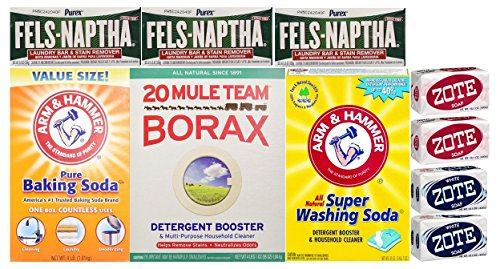 Laundry Soap Kit - Fels Naptha 3 bars, 20 Mule Team Borax...
