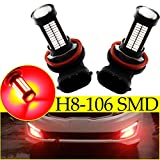 YaaGoo H8 H11 Red LED DRL Driving Fog Light,Replacement of Halogen,360 degree super bright,2pcs