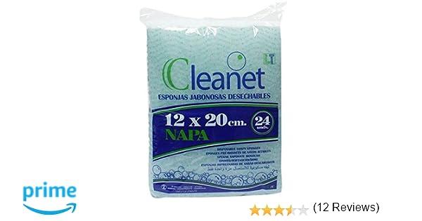 Cleanet: esponja jabonosa desechable napa 12x20cm 90grs. 20 paquetes x 24 unidades (480 unidades): Amazon.es: Belleza