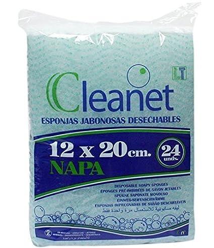 Cleanet: esponja jabonosa desechable napa 12x20cm 90grs. 20 paquetes x 24 unidades (480