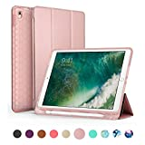 SWEES Compatible iPad Air (3rd Gen) 10.5' 2019 / iPad Pro 10.5 2017 Case, Slim Full Body Protective Smart Cover Leather Case Shockproof with Stand Built-in Apple Pencil Holder, Rose Gold