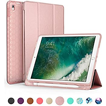 iPad Pro 10.5 Case with Pencil Holder, Swees Slim Full Body Protective Smart Cover Leather Case Rugged Shockproof with Stand Built-in Apple Pencil Holder for iPad Pro 10.5 inch, Rose Gold