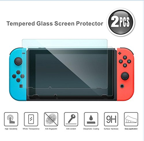 HonE Tempered Screen Protector For Nintendo Switch - Anti-Blue Light For eyes protection & Premium HD - Full Coverage Anti-Bubble Screen Protector Protective Film - Hone Blue