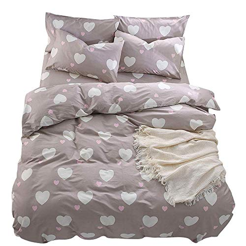 BuLuTu Kiss Love Print 3 Pieces Girls Bedding Duvet Cover Set Twin Cotton with Zipper Closure and Ties,Twin,68x86 in,No Comforter