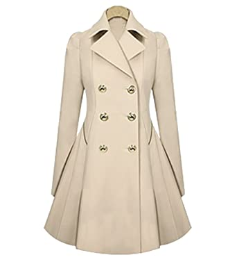 Vintage 1950s Retro Statement Military Swing Trench Coat Jacket