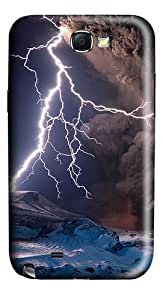 Volcanic Eruptions And Lightning Polycarbonate Hard Case Cover for Samsung Galaxy Note II N7100