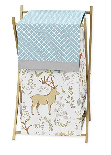 Sweet Jojo Designs Baby/Kids Clothes Laundry Hamper for Blue, Grey and White Woodland Animal Toile Girl or Boy Bedding by Sweet Jojo Designs