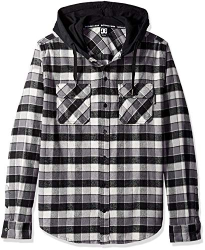 DC Men's RUNNELS Long Sleeve Hooded Flannel Shirt, Black, L