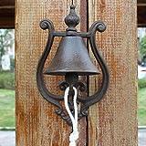 LBYMYB Wrought Iron Doorbell Garden Cast Iron Hand Bell Creative Style Wind Chime Craftsmanship 14.6x10x24cm doorbell