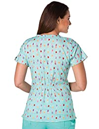 Koi Prints Women's Emma V-Neck Pineapple Print Scrub Top Small Print