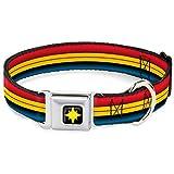 Dog Collar Seatbelt Buckle Captain Marvel Stripe