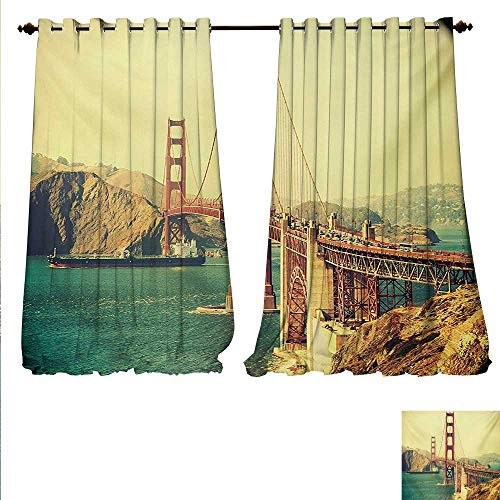 (familytaste Drapes for Living Room Old Film Featured Golden Gate Bridge Suspension Urban Path Construction Scenery Window Curtain Drape W72 x L84 Blue Brown.jpg)