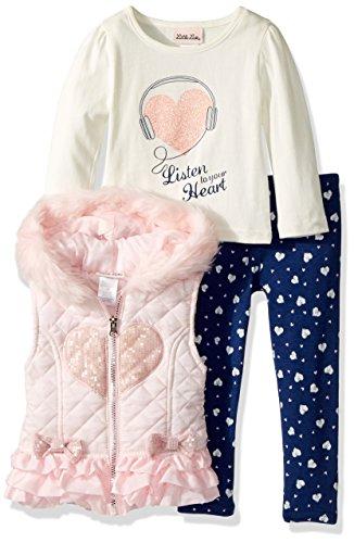 Little Lass Little Girls' 3 Pc Quilted Puffer Vest Set, Light Coral, 6
