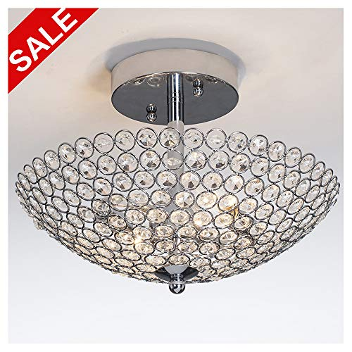 POPILION Elegant 2 light Bowl Shaped Chrome Finish Metal Crystal Chandelier ,Flush Mount Ceiling Light