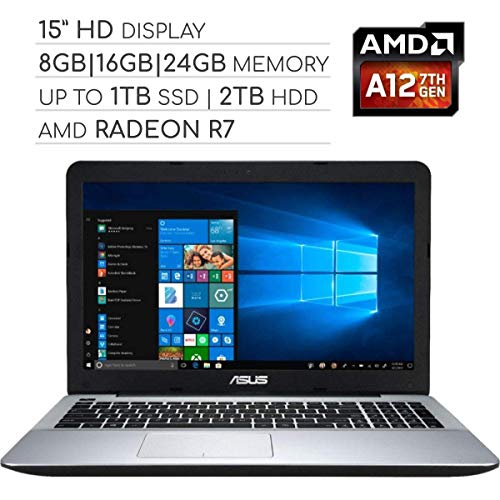 ASUS Vivobook 2019 Premium 15.6 HD Non-Touch Laptop Computer, 4-Core AMD A12 2.7GHz, 8GB|16GB|24GB RAM, 128GB|256GB|512GB|1TB SSD, 1TB|2TB HDD, No DVD, Wi-Fi|Bluetooth|Webcam|HDMI|VGA, Windows 10