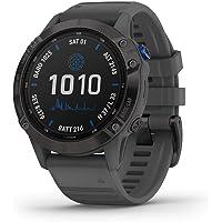 Gps Garmin Relógio Fenix 6 Pro Solar Power Glass Preto com Pulseira Cinza