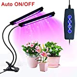 Grow Light, Auto ON/Off Timing Function LED Plant Grow Light, 20W 40 LED Dual Head Grow Lamp, 3/6/12H Timer Red/Blue Spectrum Adjustable Gooseneck 5 Levels for Indoor Plants