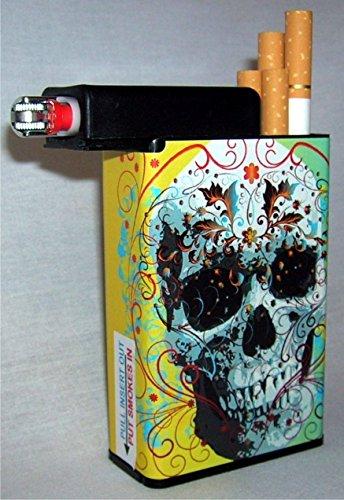 Cigarette Case Skull Head with Built on Lighter Holder Box ryo (Skull Purse)