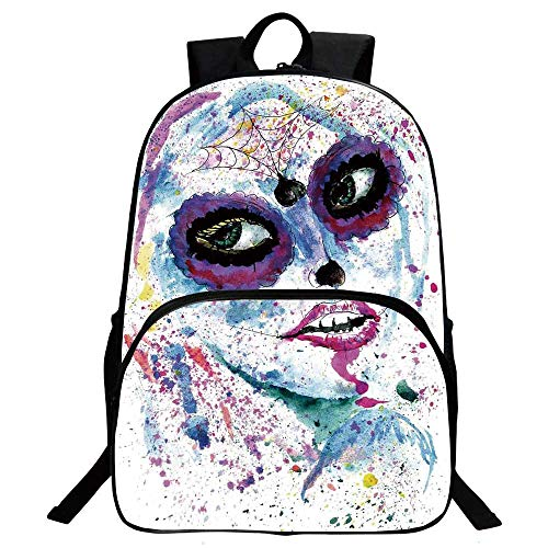 Girls Beautiful School Backpack,Grunge Halloween Lady with Sugar Skull Make Up Creepy Dead Face Gothic Woman Artsy For classroom,11.8