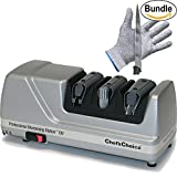 Chef'sChoice Professional Sharpening Station Model 130 & Pair of Zonoz Cut-Resistant Gloves Bundle (Platinum)