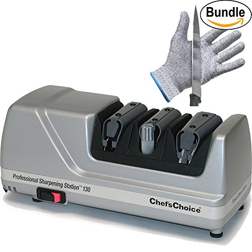 Chef'sChoice Professional Sharpening Station Model 130 & Pair of Zonoz Cut-Resistant Gloves Bundle (Platinum) by Knife Sharpener Bundle