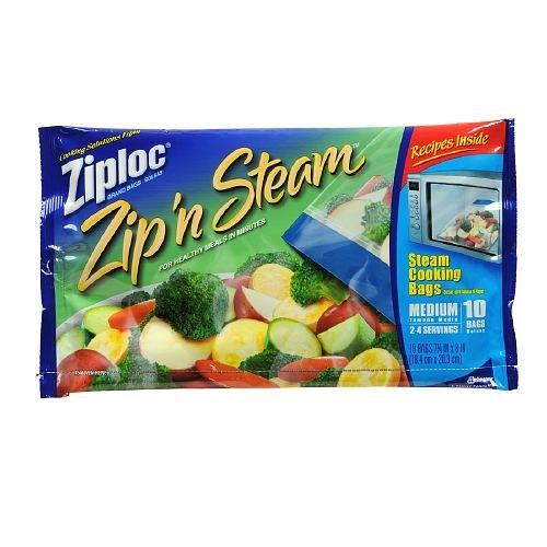 Ziploc Zip 'n Steam, Steam Cooking Bags, Medium 10 ea