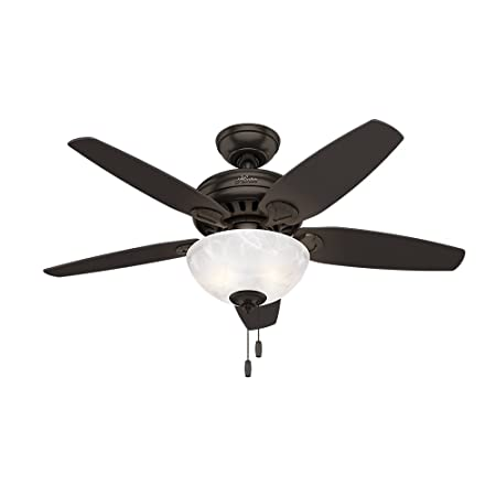 Hunter Indoor Ceiling Fan with light and pull chain control – Cedar Park 44 inch, Premier Bronze, 52135
