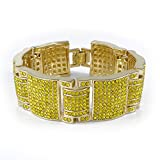 14K Gold Plated Canary Iced Out Simulated Diamond Hip Hop Bracelet