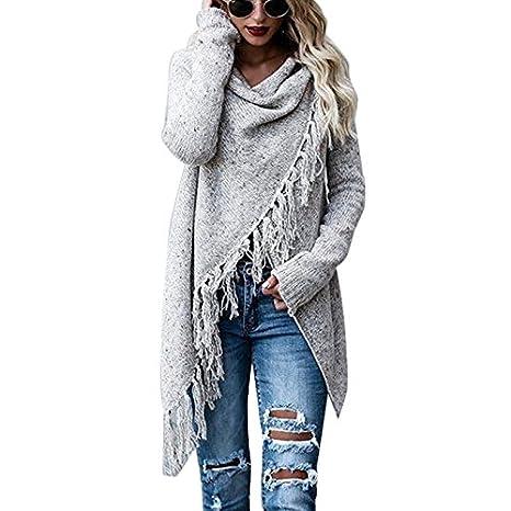 MIOIM Moda Mujeres Chaqueda de Manga Larga Irregular Jersey Suéter Chal Outwear: Amazon.es: Ropa y accesorios