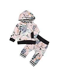 Veepola 2Pcs Kids Suit,Baby Boys Girls Flower Print Hooded Tops Pants Outfits