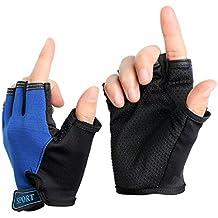 Boy Girl Child Children Kid Half Finger Fingerless Short Shock - absorbing No-Slip Pro Cycling Gloves Mitten for Cycling MTB Exercise Skate Skateboard Roller Skating Other Sports (Black wolf)