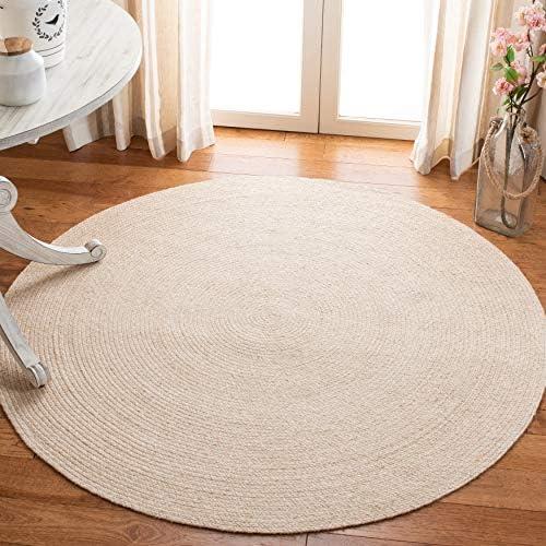 Safavieh Braided Collection BRD800B Hand-woven Area Rug, 6 Round, Beige